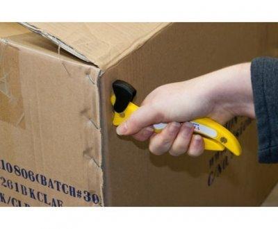 Sigurnosni skalper žuti kukom seče karton